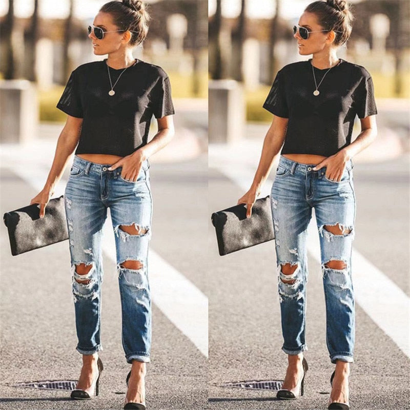 Spring Fashion Hole Ripped Jeans Women Destroyed Cool Denim Mid Waist Skinny Jeans Pants Summer Slim Pencil Jeans Trousers - SunLify