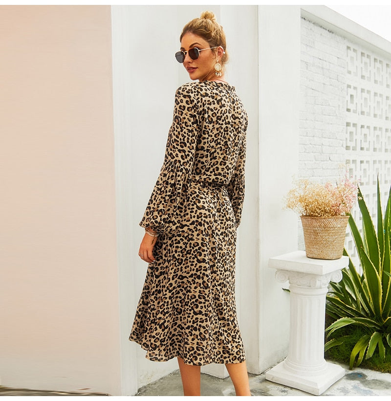 Buy Cheap Lossky Autumn Dress Women Leopard Printed Long Sleeve V Neck Midi Dress Long Ladies Lace-Up Slim Clothing Vestido Elegant Online - SunLify