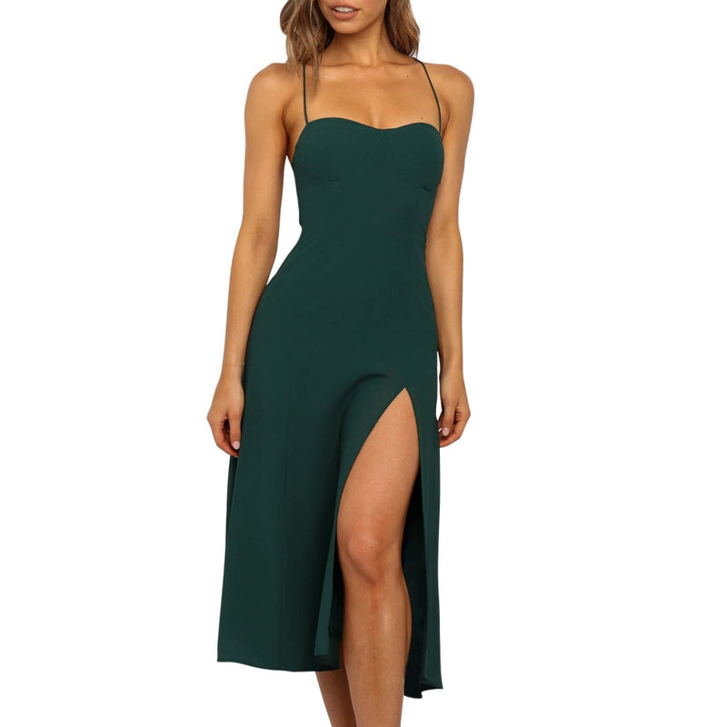 Lossky Sexy Backless Sleeveless Bandage Midi Dress Summer Beach Strapless Dresses Casual Clothes For Women  Green Sundress - SunLify