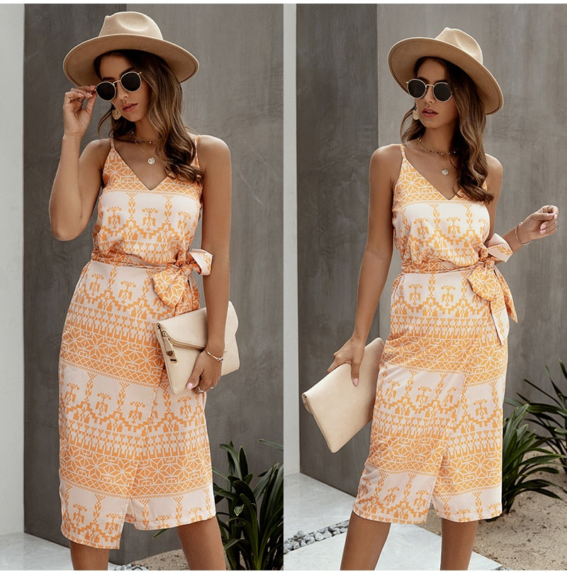 Lossky Cotton Dress Women Printed Summer Slip Sundress Sexy Backless Sleeveless Beach Midi Clothes For Women  Ladies Dresses - SunLify
