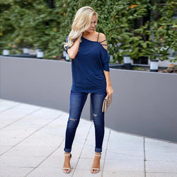 Women Denim Skinny Trousers Low Waist Jeans Destroyed Knee Holes Pencil Pants Trousers Stretch Ripped Boyfriend Mom Jeans - SunLify