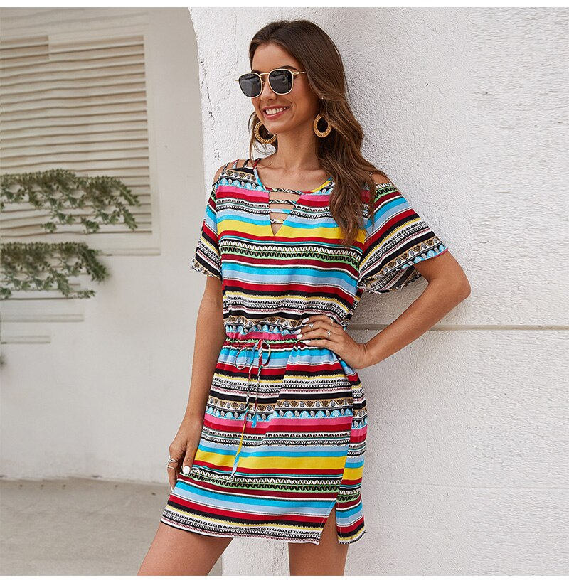 Summer Dress Women Casual Color Striped Mini Short Sundresses Vintage Fitted Overalls Clothing  Clothes For Women Fashion - SunLify