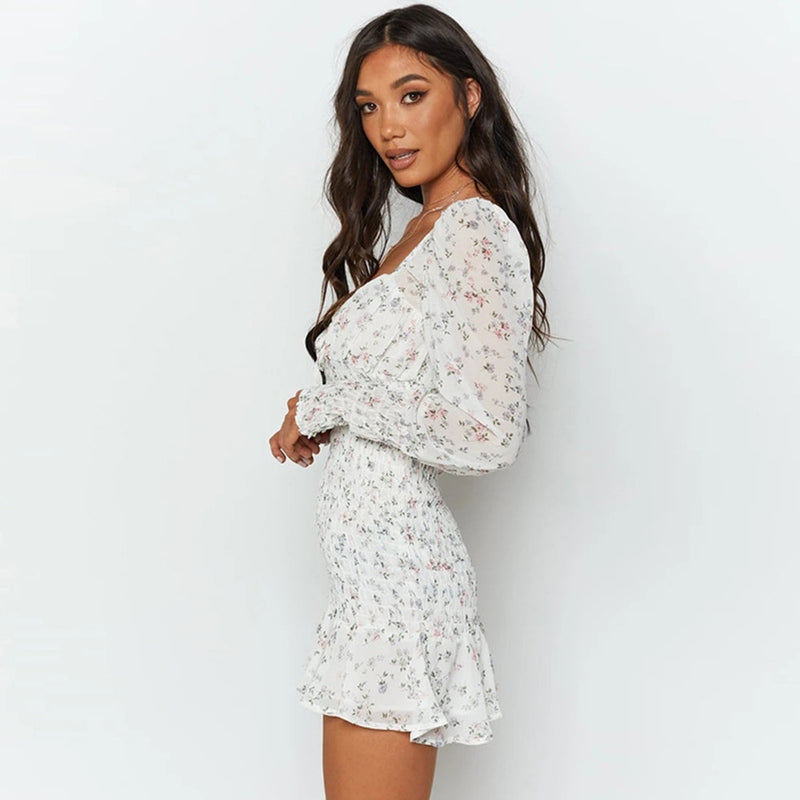 Buy Cheap Dress Women Autumn Spring Elegant Ladies White Floral Square Neck Fashion Ruffle Ruched Backless Chiffon Dresses Clothes Online - SunLify