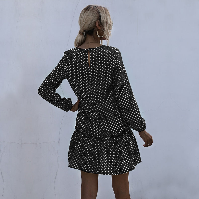 Dress Women Autumn Winter Elegant Dot Print Slim Fitted Dresses Ruffle Long Sleeve Black A Line Trendy Clothes For Women - SunLify