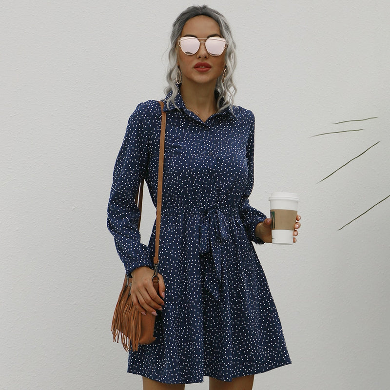 Buy Cheap Button Up Shirt Dress Autumn Spring Casual Dot Print A-Line Dresses Elegant Floral Slim Sashes Fall  Womens Clothing Fashion Online - SunLify