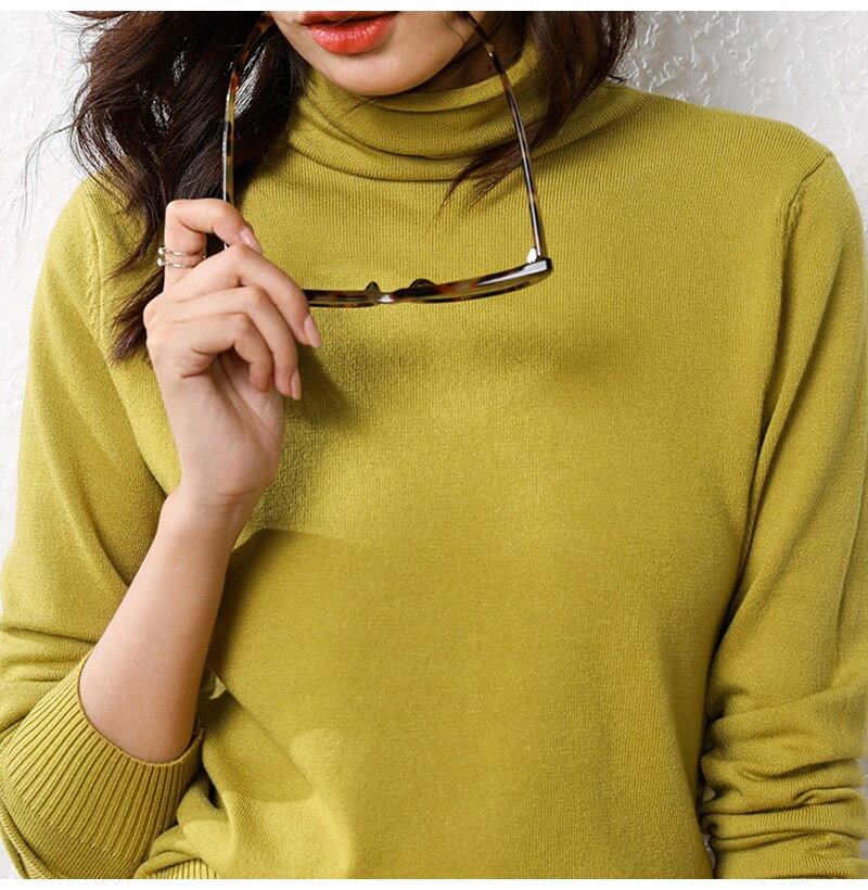 Buy Cheap Knitted Sweater Autumn Long Sleeve Pure Black Turtleneck Korean Slim Pullover Jumper Basic Sweaters Woman  Fashion Clothes Online - SunLify