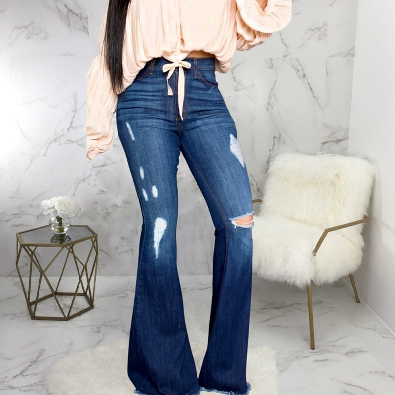 Buy Cheap Sexy Ripped Holes Jeans For Women High Waist Jeans Vintage Flare Jeans Patchwork Bell Bottom Jean Denim Pants Trousers Plus Size Online - SunLify