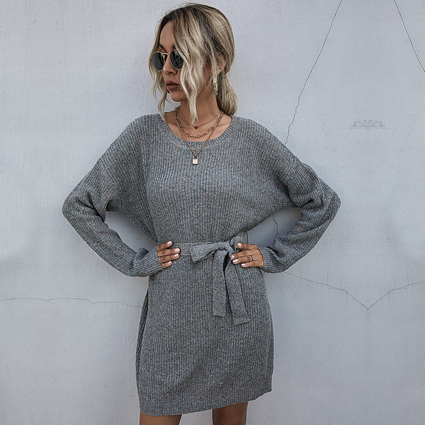 Buy Cheap Sweater Dress Autumn Winter Elegant Ladies Solid Color Long Sleeve Sashes Loose Fit Clothes Casual Knit Dresses For Women Online - SunLify