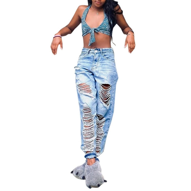 Sexy Ripped Jeans For Women Straight Loose Vintage Female Fashion Mid Waist Baggy Mom Jeans Pants summer Casual boyfriend jeans - SunLify