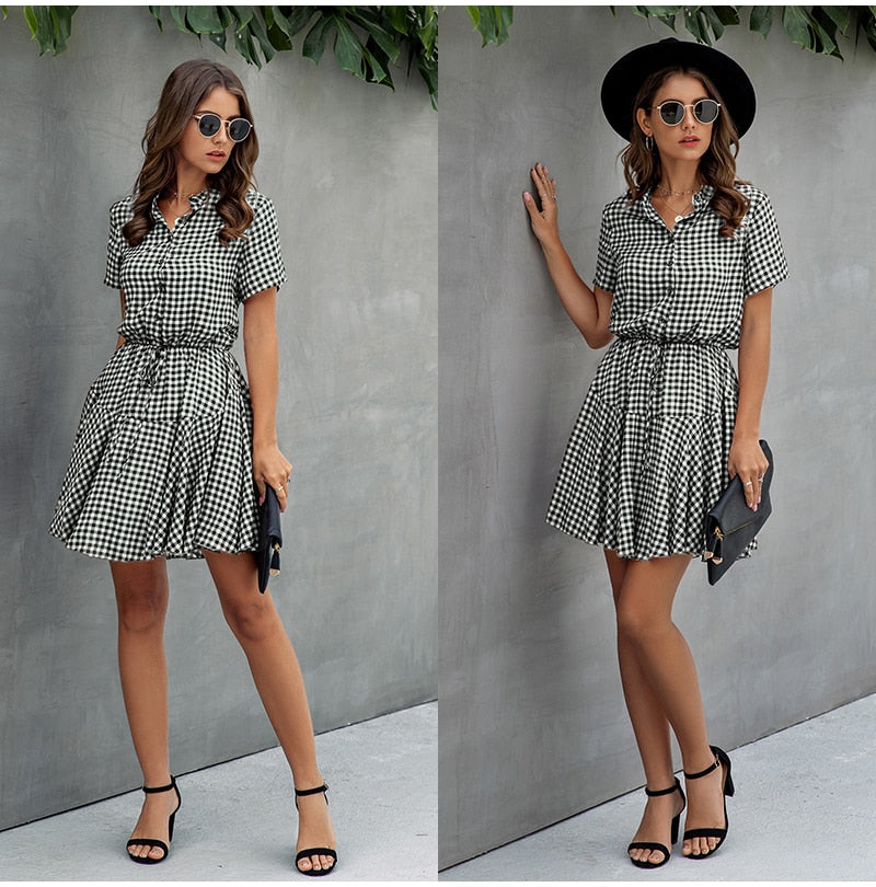 Buy Cheap Lossky Women Cotton Mini Dress Fashion Summer Plaid Snake Short Sleeve Casual Ruched Short Nice Shirt Dress Clothes Elegant Online - SunLify