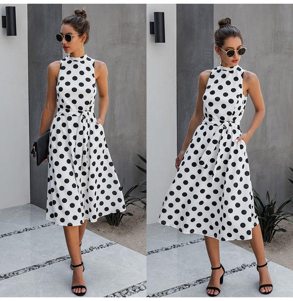 Long Dress Women Black Casual Polka-dot Summer White Midi Dresses Fitted Elegant Ladies Party  Summer Clothes For Women Belt - SunLify