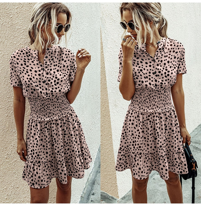 Buy Cheap Dress Women Leopard Casual Black Summer Ruffle Mini Dresses Buttons Ladies Purple Waisted Fitted Clothing  Womens Clothes Online - SunLify
