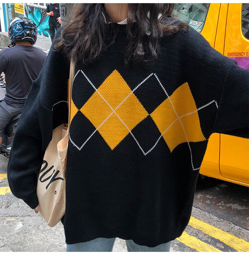 Women Sweater Autumn Winter Long Sleeve Top Korean Fashion Preppy Style Black Knitted Argyle Pullover Sweaters  Fall Clothes - SunLify