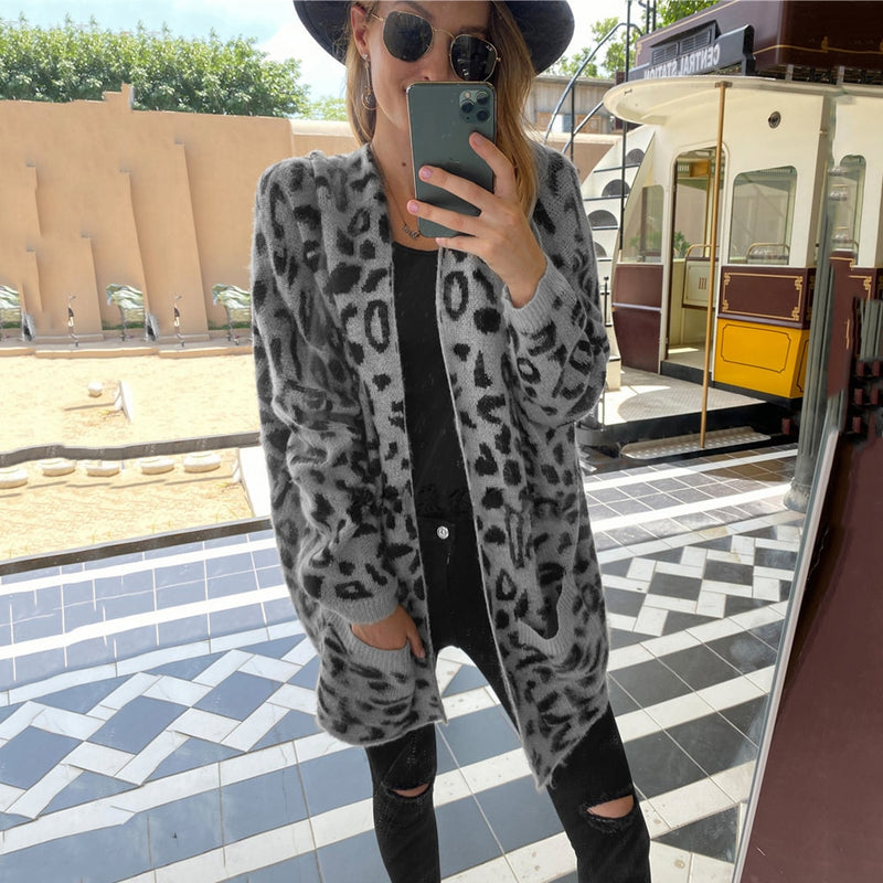 Buy Cheap Green Long Cardigan Jacket Autumn Winter Clothes Women Loose Long Sleeve Leopard Knitted Cardigans Tops  Sweaters For Women Online - SunLify