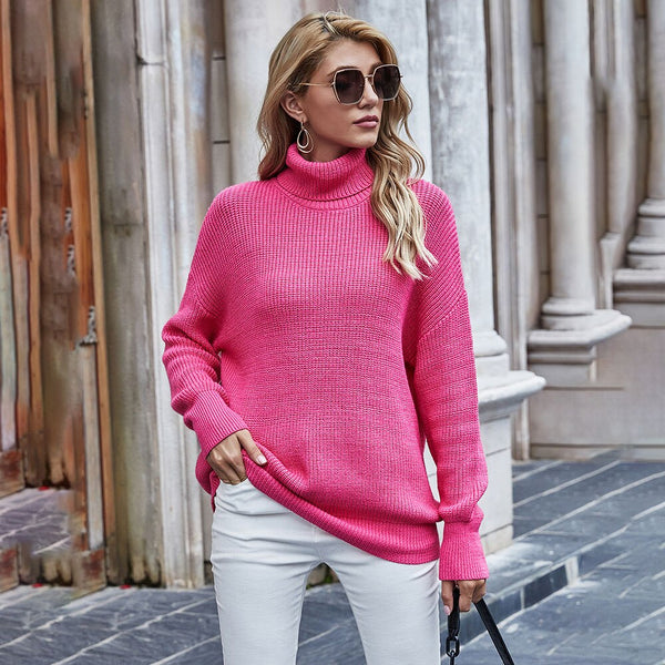Women Sweaters Autumn Winter Loose Solid Blue Long Sleeve Tops Turtleneck Knitted Pullover Clothes  Fall Sweaters For Women - SunLify