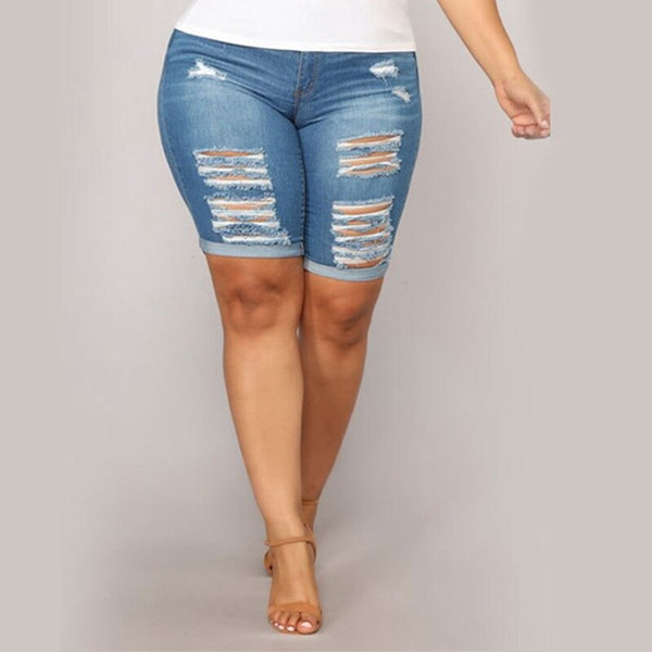 Buy Cheap Plus size 5XL Fashion Knee Length Ripped Denim Shorts Women Summer Casual Push Up Elastic Mid Waist Biker Short Jeans Streetwear Online - SunLify