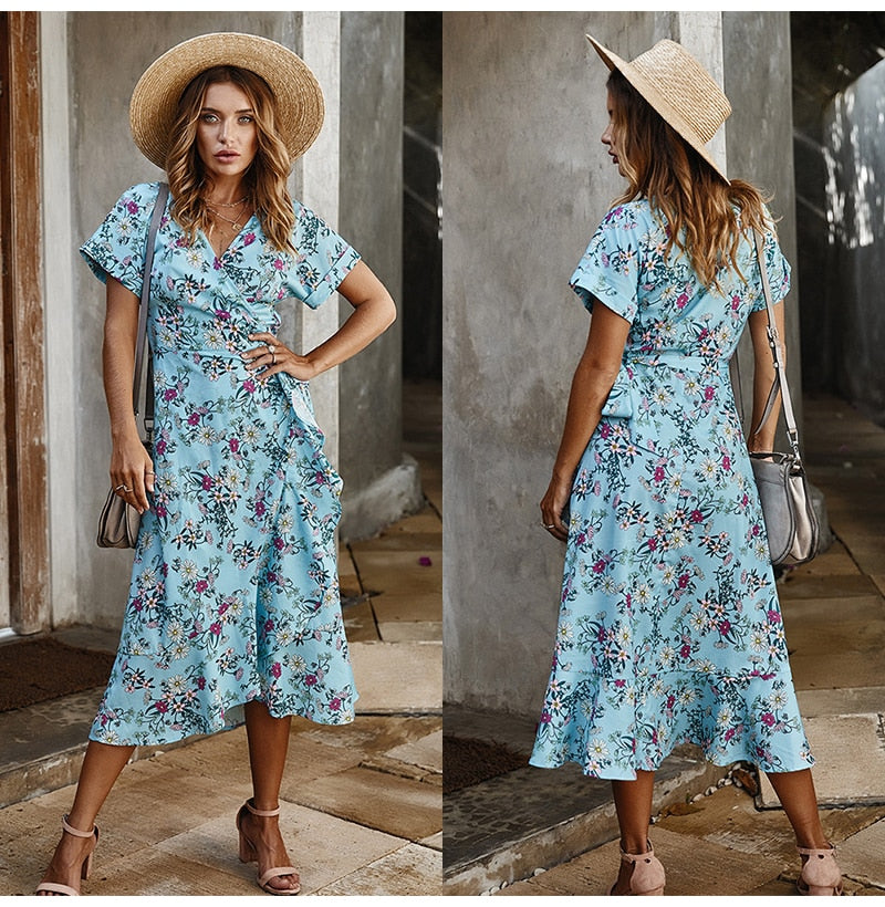 Long Dress Summer Women Casual Floral Ruffle Dresses Lace-Up Cardigan New Arrival  Flower Fitted Midi Clothes Red For Women - SunLify