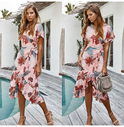 Pink Midi Dress Women Summer Casual Print Ruffle Holiday Long Sundress Ladies Yellow Fitted Clothes Lacing-up  Women Outfits - SunLify