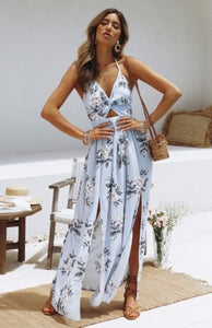 Buy Cheap Womens Boho Maxi Long Dress Sundress Floral Halter Dress Online - SunLify