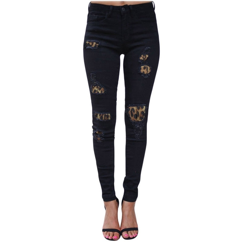 Buy Cheap High Waist Jeans For Women Fashion Slim Hole Leopard Patchwork Long Jeans Sexy Ripped Denim Jeans Pants Push Up Jeans Boyfriend Online - SunLify