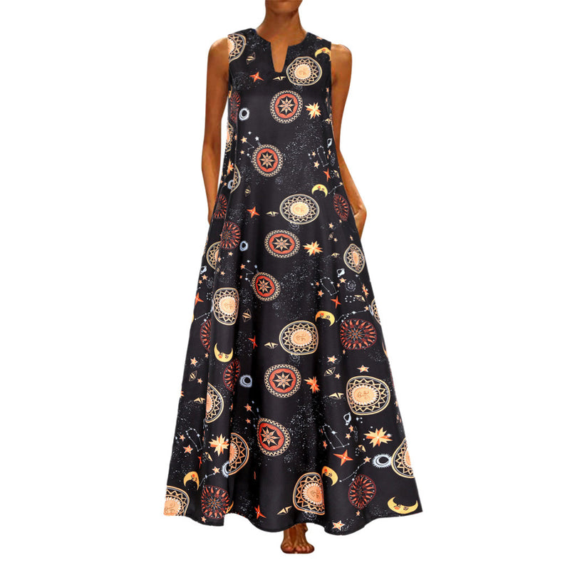 Printed Bohemian Ethnic Style Beach Maxi Dress - SunLify