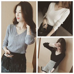 Buy Cheap Women Tops Solid Stripes Women's Knitted Shirts Online - SunLify