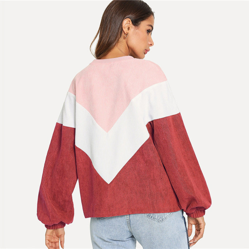 Buy Cheap Casual Color Block Sleeve Corduroy Sweatshirt Long Sleeve Pullovers Online - SunLify
