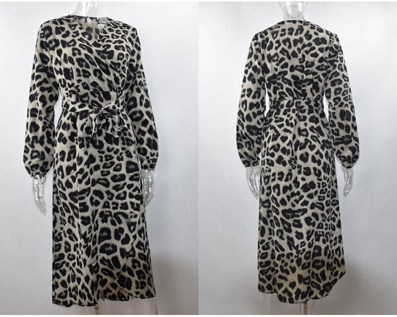 Lossky Women Sexy V Neck Wrap Leopard Printed Slit Long Dress Vintage Elegant Party Dress New Autumn Casual Dress Female Vestido - SunLify