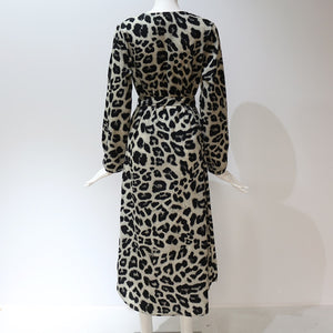 Buy Cheap Leopard Dress Women Loose Long Sleeve Deep V-neck A-line Dress Online - SunLify