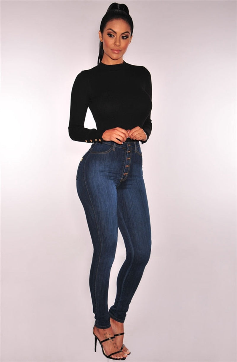 Jeans for Women High Waist push up jeans High Elastic plus size Stretch ladies mom jeans female washed denim skinny pencil pants - SunLify