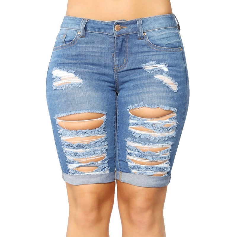 Sexy Destroyed Hole Skinny Capris Jeans Women Casual Stretch Knee Length Denim Shorts Jeans ladies High Waist Denim hot pants - SunLify