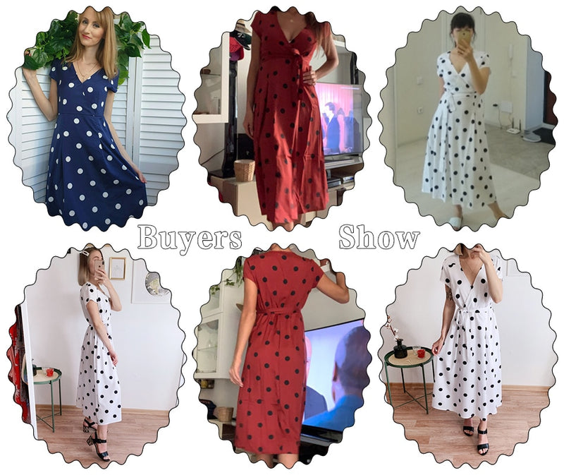 Women Fashion Polka Dot Dress Summer Casual A-Line Party Dresses Sexy V-neck Short Sleeve White Red Long Dress Sashes - SunLify