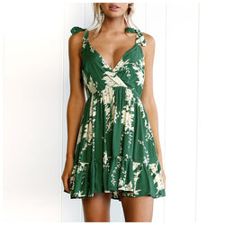 Buy Cheap Lossky Summer Women Dress  New Casual A Line Floral Print Sleeveless Lace Up Dress Ladies V Neck Backless Green Mini Dresses Online - SunLify