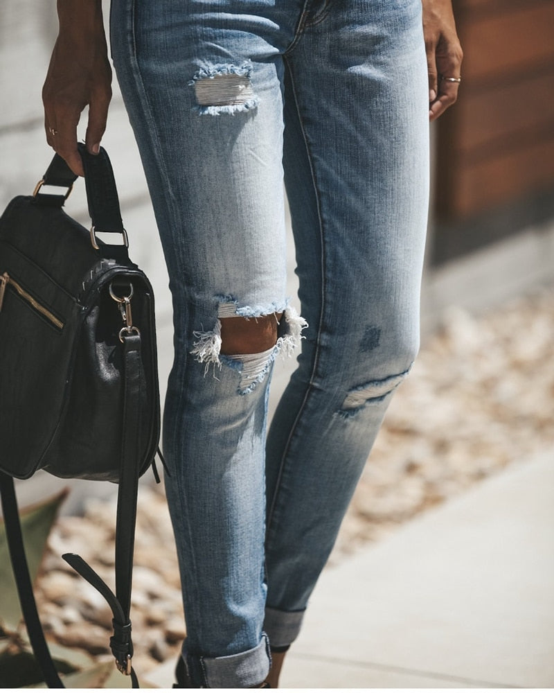 High Waist Skinny Jeans Women Vintage Distressed Denim Pants Holes Destroyed Pencil Pants Casual Trousers summer Ripped Jeans - SunLify
