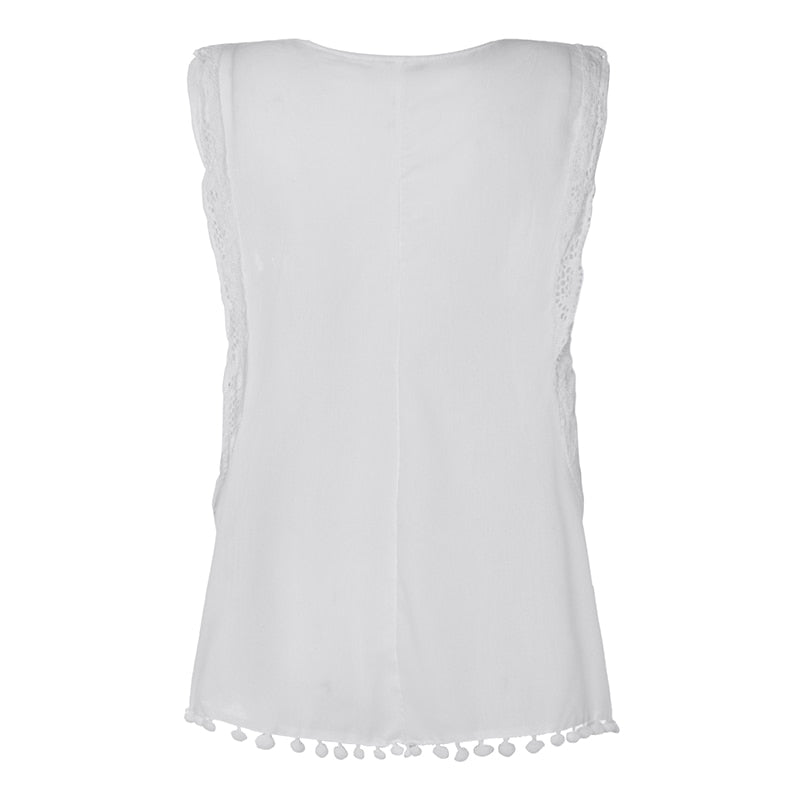 Women Summer Blouse Sleeveless Tops Lace Hollow Tanks Casual Shirt - SunLify