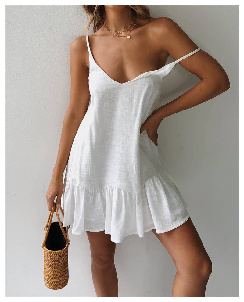 Buy Cheap Lossky Loose Summer Dress Cotton Sexy White Halter V-neck Ruffled Women Casual Spaghetti Strap Mini beach clothes for women Online - SunLify