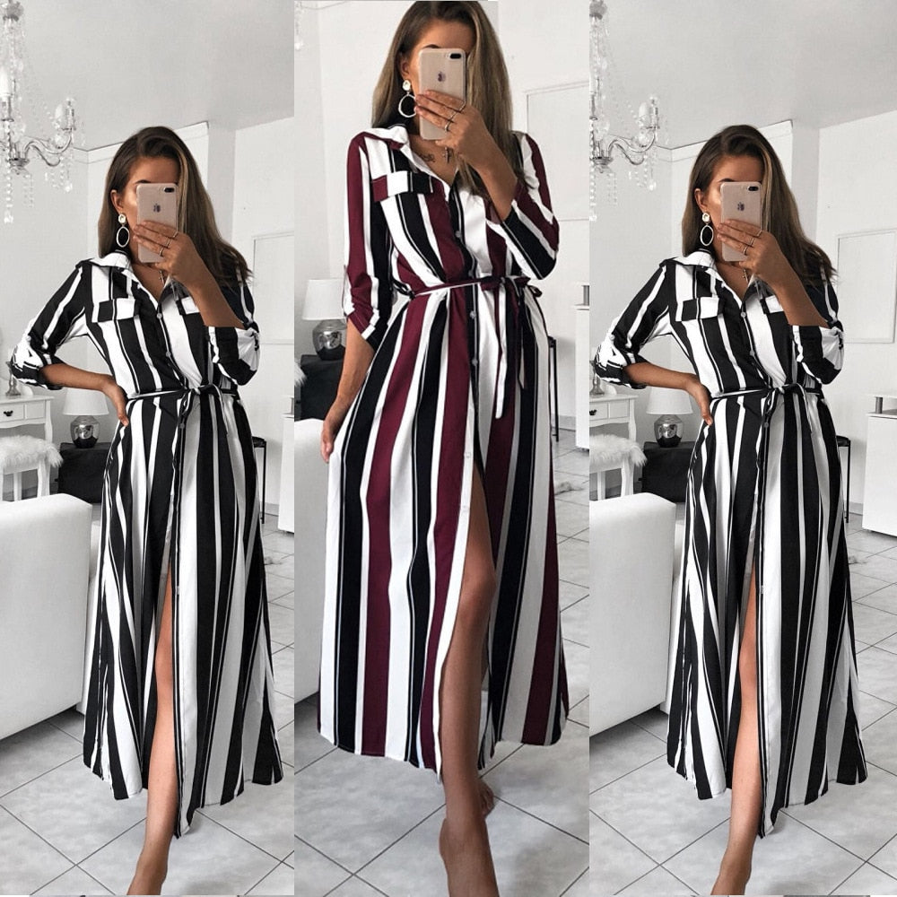Buy Cheap Stripe Turn-Down Collar Button Autumn Summer Long Sleeve Dress Online - SunLify