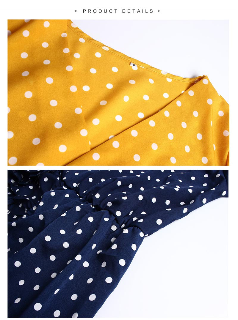 Women Dress Ruffles Print Polka Dot Female Half Sleeve Mini Dresses - SunLify