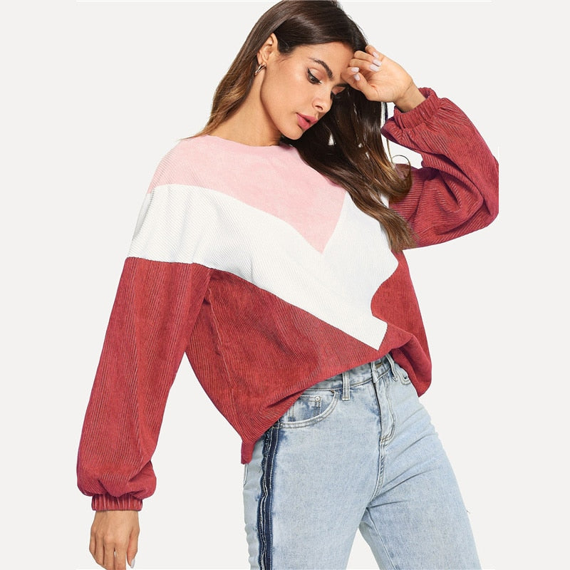 Casual Color Block Sleeve Corduroy Sweatshirt Long Sleeve Pullovers - SunLify