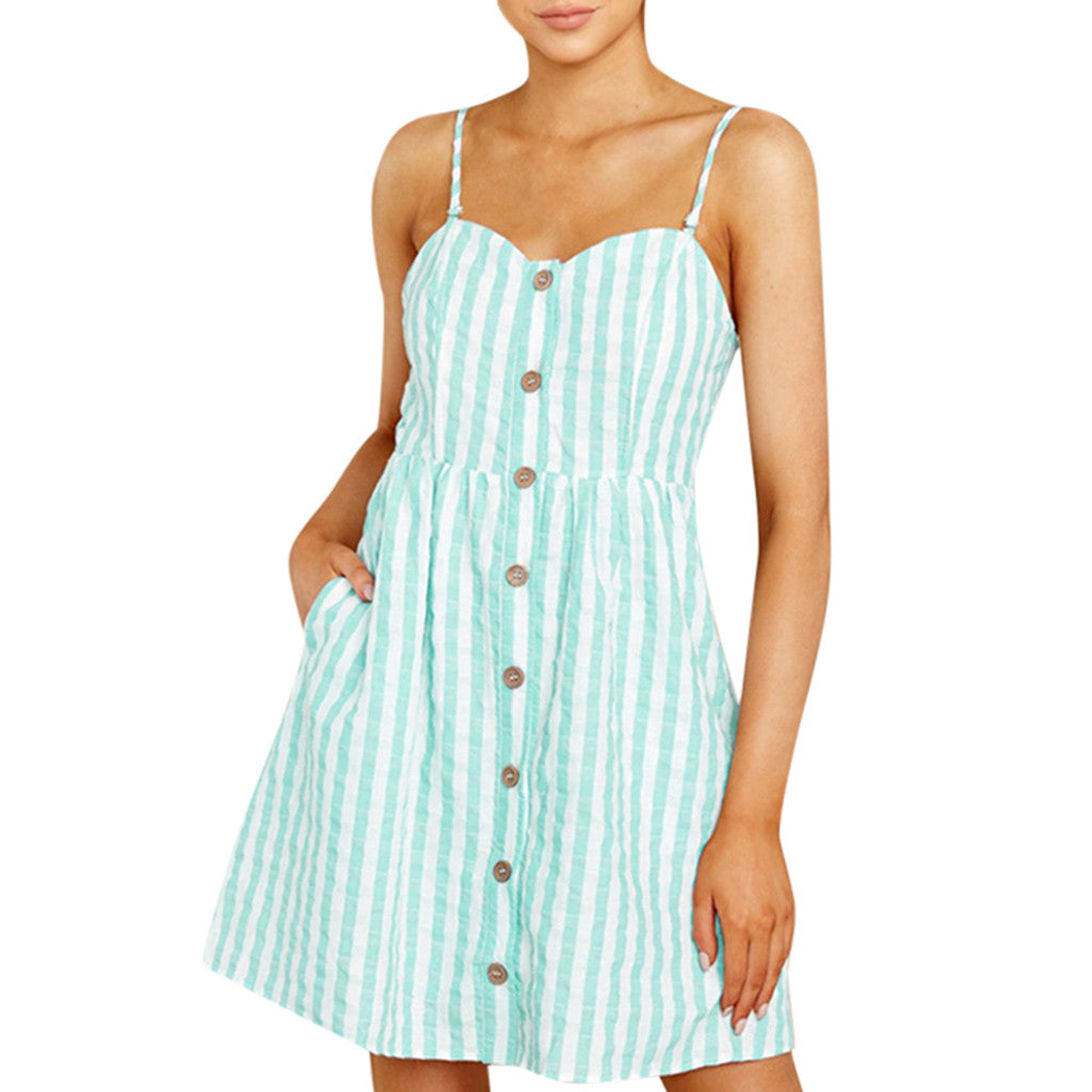 Women Strappy Off Shoulder Striped Bow Open Back Short Mini Dress - SunLify
