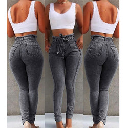 High Waist Jeans For Women Slim Stretch Denim Jean Bodycon Tassel Belt Bandage Skinny Push Up mom jeans ladies boyfriend jeans - SunLify