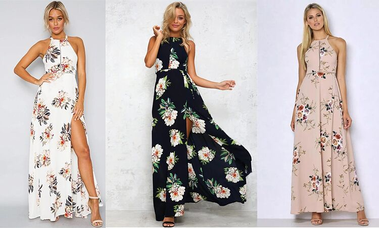 Floral Print Halter Chiffon Long strapless Dress Women Backless Summer Maxi Dresses Split Beach flowy dress  Sundress - SunLify