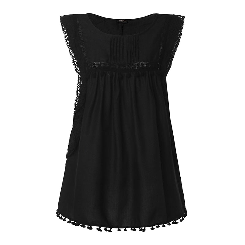 Buy Cheap Women Summer Blouse Sleeveless Tops Lace Hollow Tanks Casual Shirt Online - SunLify