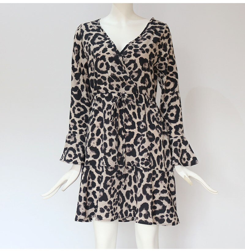 Lossky Leopard Print V-neck Wrap Sleeve Mini Dress Women Plus Size New Short Spring Autumn Gray Lady Dress Elastic Waist - SunLify