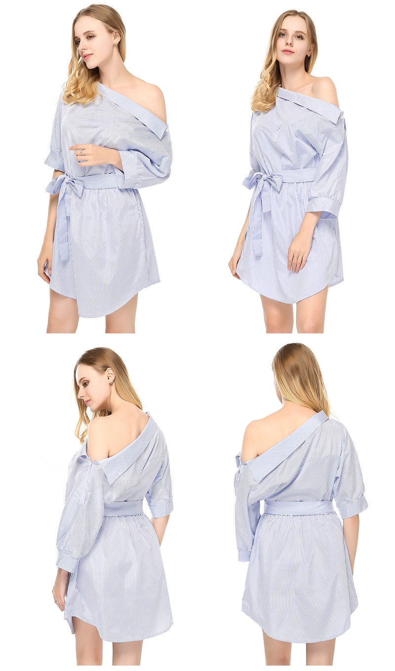 Buy Cheap Summer Women Dress Blue Striped Shirt Short Dress Mini Sexy Side Split Half Sleeve Beach Dresses  Plus Size Sundress 3XL Online - SunLify