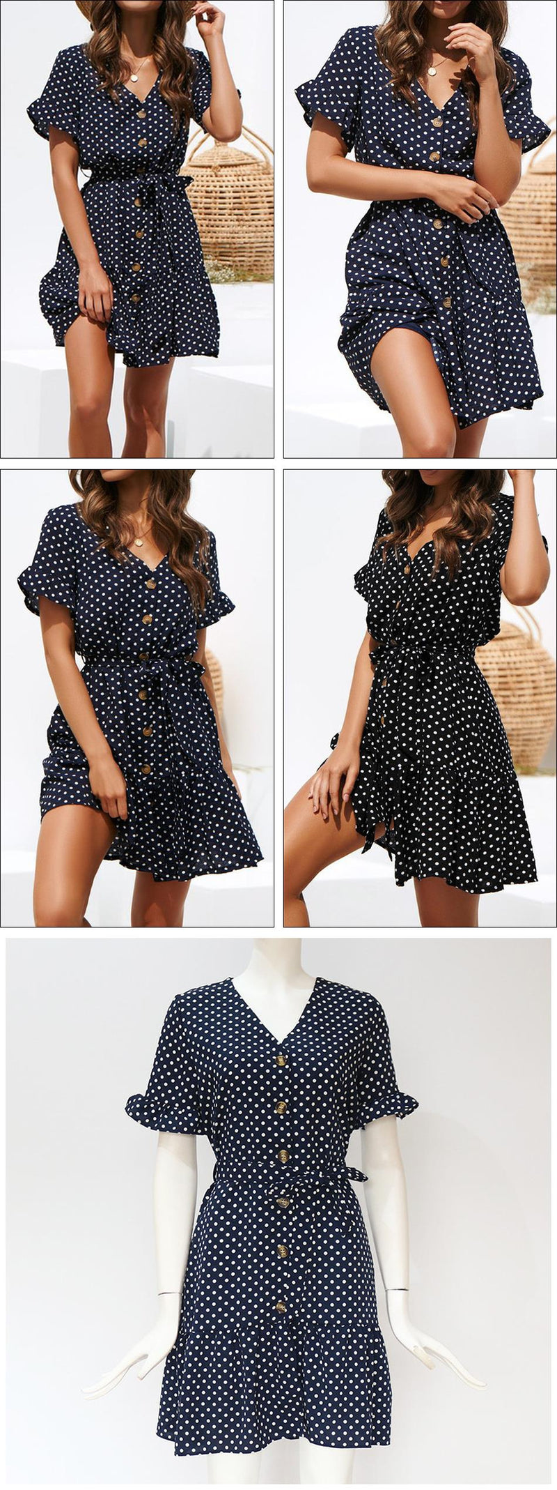 Lossky Women Casual Dress Hot Chiffon Polka Dot Print V-neck Mini Dress Summer Lace Up Button Butterfly Sleeve Dress Plus Size - SunLify