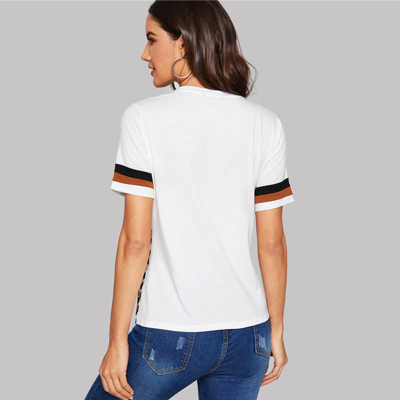 Buy Cheap Witte Kleur Blok Cut-en-Sew Luipaard Panel Top Korte Mouw T-shirt Online - SunLify