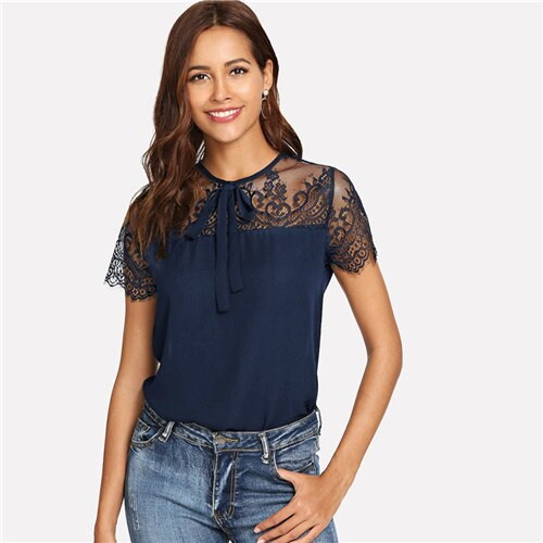 Buy Cheap Lace Shoulder Contrast Mesh Top Blouse Online - SunLify
