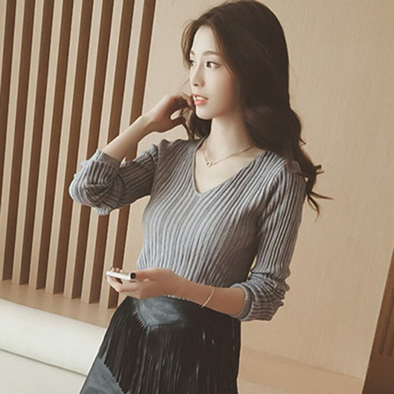 Women Tops Solid Stripes Women's Knitted Shirts - SunLify