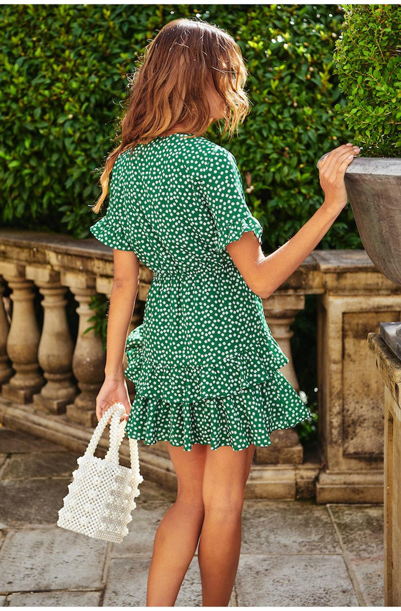 Buy Cheap Lossky Summer Women Polka-dot Printed Bow sexy Deep V Neck Short Sleeve Mini Dress Short Butterfly Sleeve Beach Holiday Sundress Online - SunLify